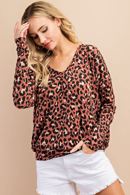 Leopard print v-neck long sleeve top