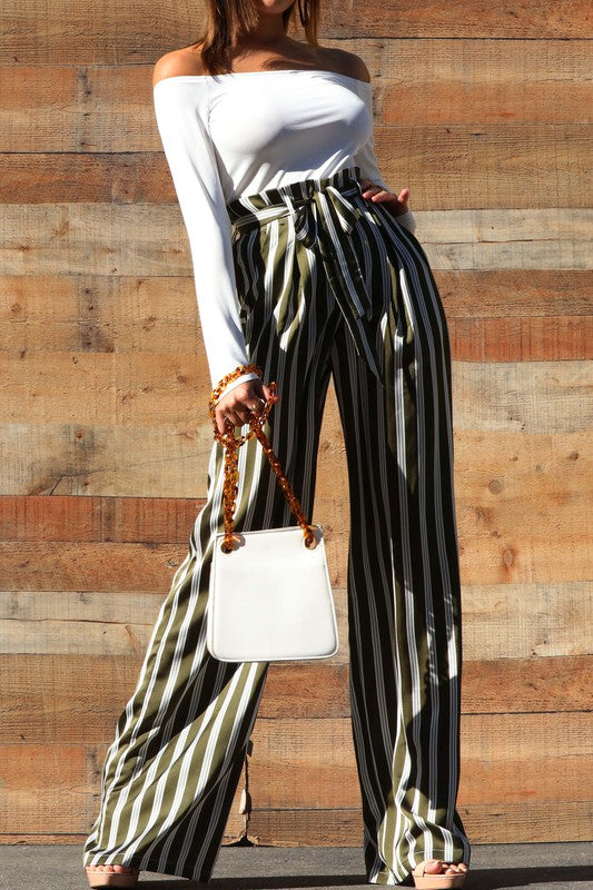 off the shoulder stripe jumpsuit