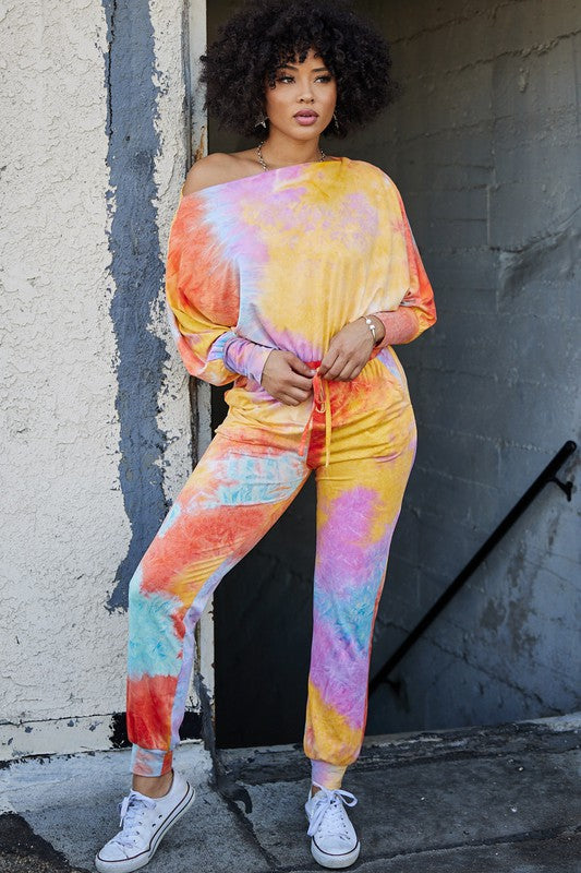 Side Pocket Multi Tie-Dye French Terry Jumpsuit