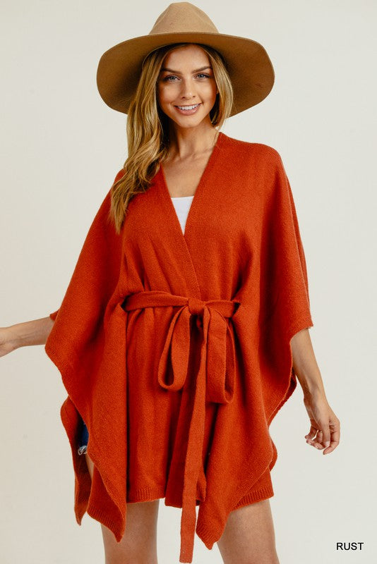 Belted Poncho Cardigan