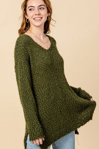 FL20G653-1-Favlux-Texture knit V-neck tunic sweater-RK Collections Boutique