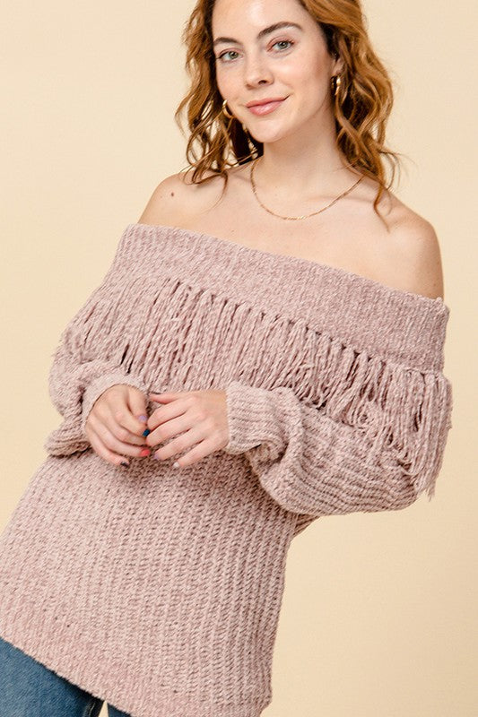 FL20H294-1-Favlux-Off the shoulder sweater with fringe-RK Collections Boutique