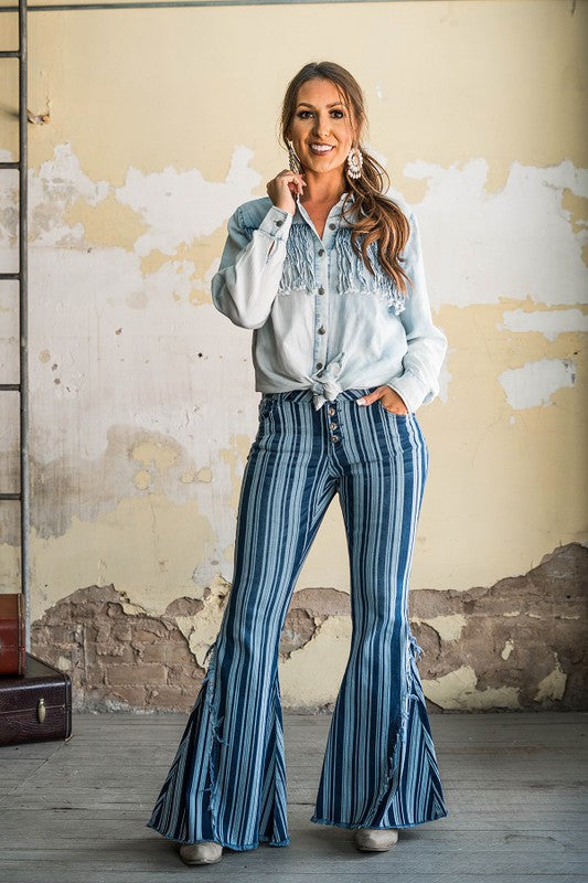 Vertical stripe bell bottom pants with fringe
