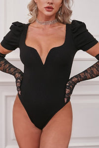 Deep V Neck Ribbed Bodysuit with Puff Sleeve