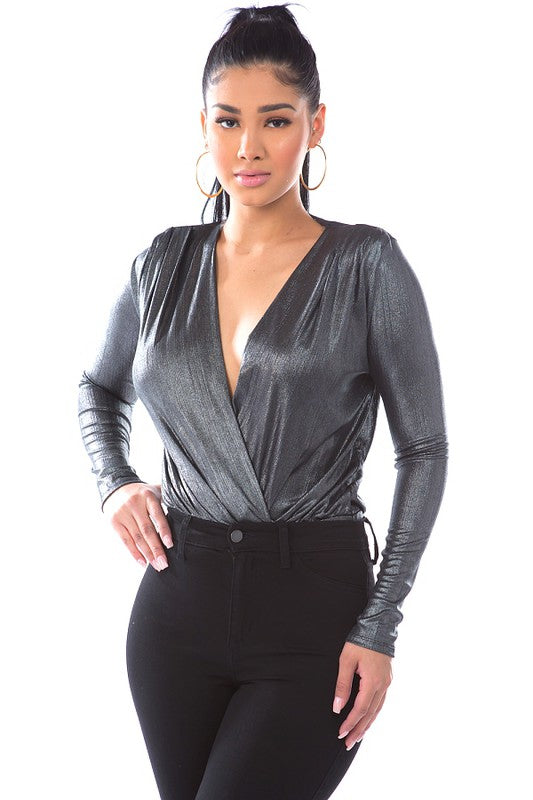 Metallic surplice bodysuit