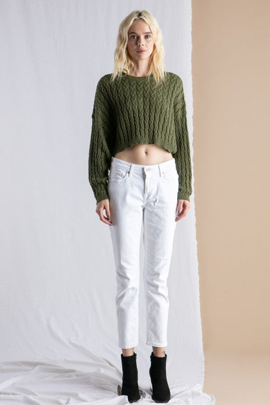 long sleeve cropped dolman sweater