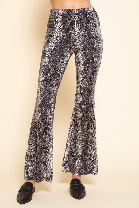 Jersey snakeskin pull on bell bottom pants