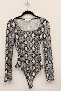 long sleeve snakeskin bodysuit