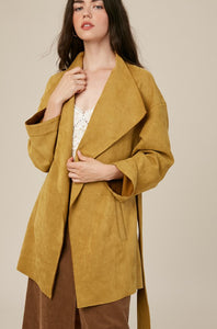Faux suede wide lapel jacket