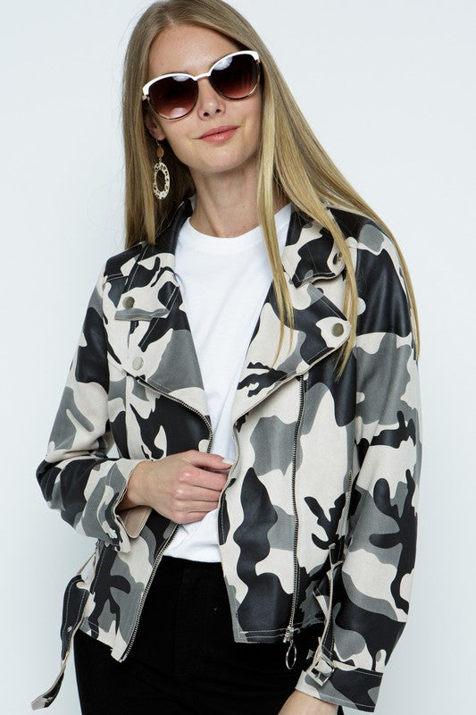 Camo faux leather moto jacket