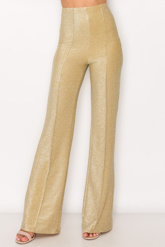 Glam Shimmer Glitter Flared Pants