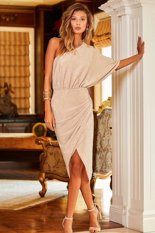 Sparkle one shoulder ruched wrap dress