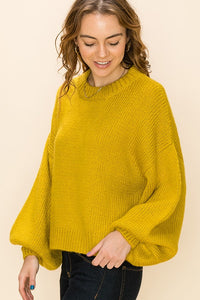Drop shoulder balloon sleeve sweater