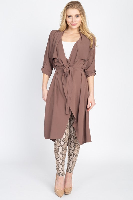 Lightweight Trench Coat with Sash Belt