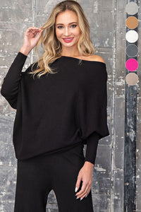 Asymmetric off the shoulder ribbed knit top