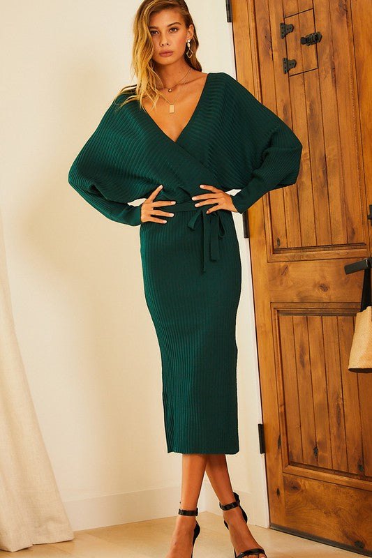 Dolman Sleeve Back Tie Solid Knit Midi Dress