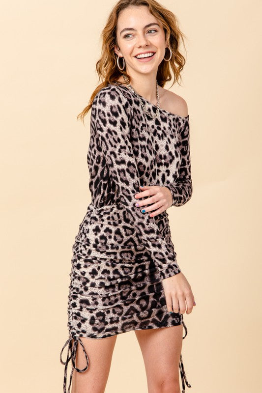 Wide neck leopard jersey dress with drawstring sides