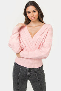 surplice double v cropped sweater