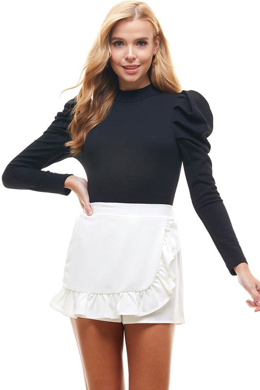 High Neck Bodysuit With Long Puff Sleeve