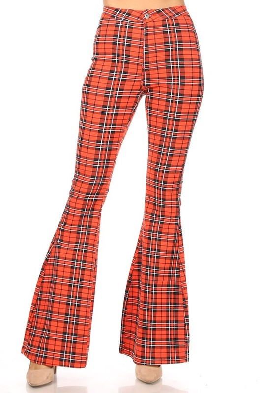 Plaid high waist super stretch bell bottom pant