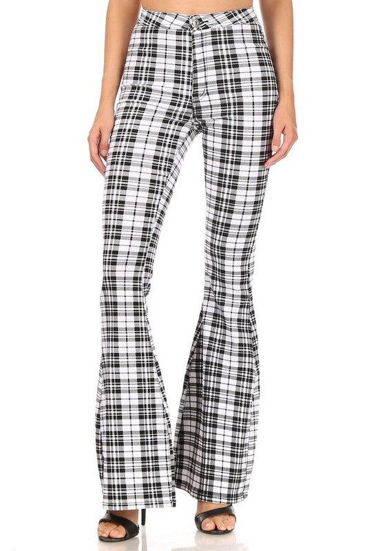 White Plaid high waist super stretch bell bottom pant