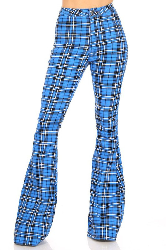 Blue Plaid high waist super stretch bell bottom pant
