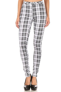 White plaid high waist stretch skinny jean