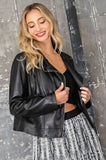 Buttery soft faux leather jacket with fringe