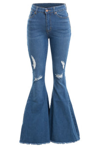 Distressed high waist bell bottom jeans