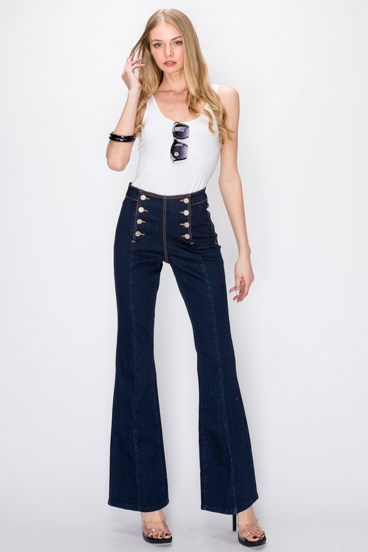 High waisted sailor button bootcut jean