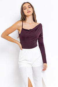 One sleeve cowl neck bodysuit