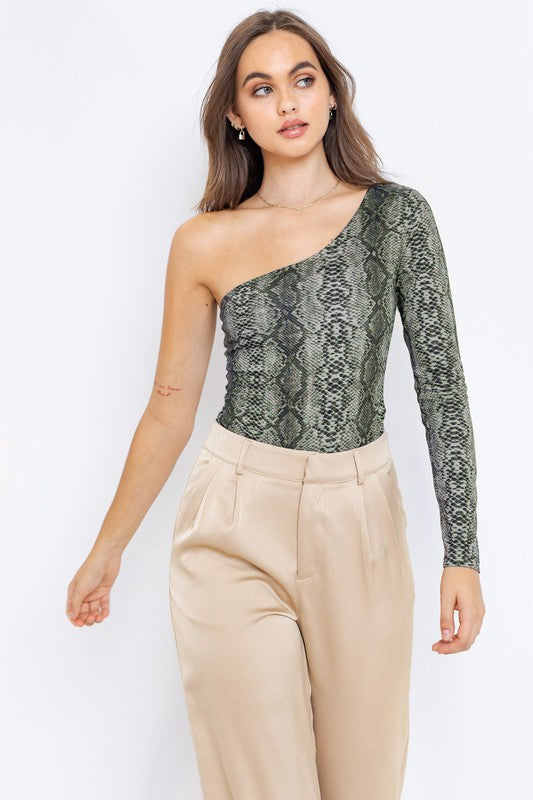 One shoulder snakeskin bodysuit