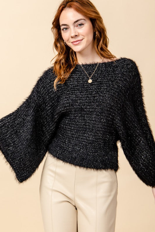 Faux angora with lurex wide sleeve sweater