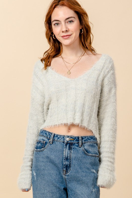 fuzzy v-neck crop sweater