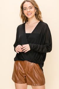 Crossover drape from knit top