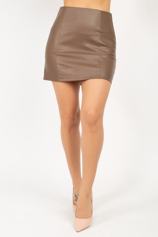 A-line faux leather mini skirt