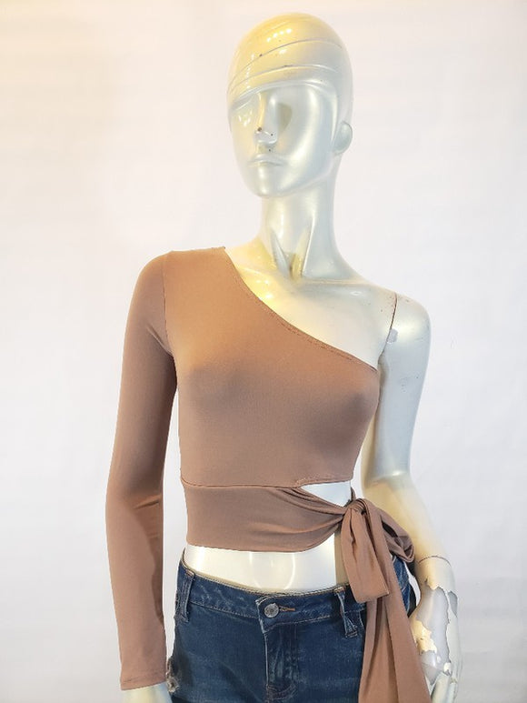 Jersey one shoulder cut out side tie top