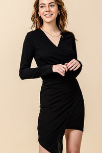 Long sleeve surplice fitted dress with asymmetrical hem