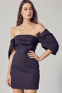 draped open shoulder dress