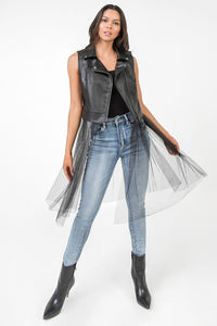 Tulle faux leather moto vest