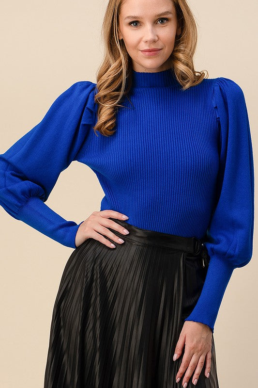 Puff shoulder ribbed long sleeve sweater