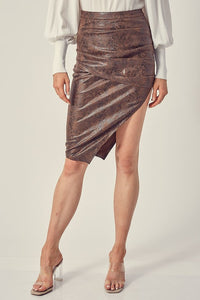 Asymmetric snake skin print faux leather skirt