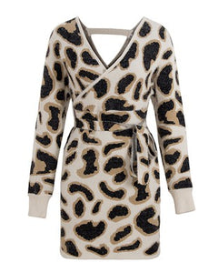 Leopard dolman sweater dress