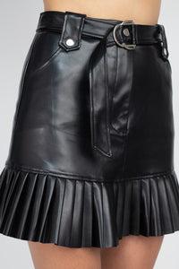 Faux leather mini skirt with pleated hem