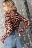 leopard mock neck long sleeve thong bodysuit