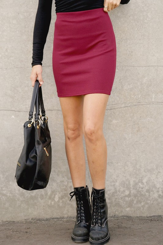 High waisted bodycon mini skirt