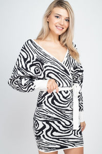 Zebra dolman sweater dress