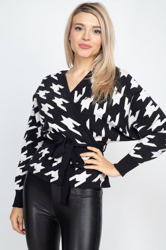 Houndstooth dolman sweater top