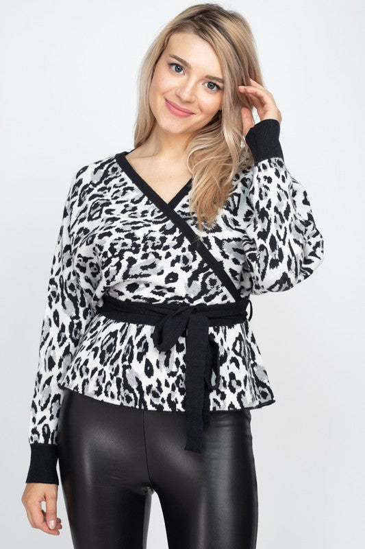 Leopard dolman sweater top