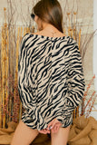 Tiger print wide neck dolman knit top